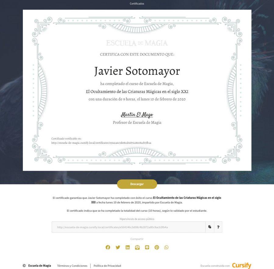 Certificados en Cursify